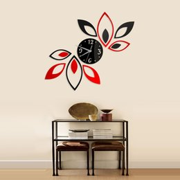 Wholesale Wall Decals Mirror Stickers - Fashion Home Decoration Mirror New Wall Stickers Living Room Bedroom Sofa TV Background Lotus DIY 3D Acrylic Wall Clock Stickers