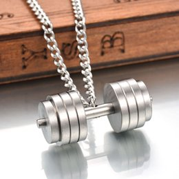 Wholesale Dumbbell Jewelry - Wholesale Sporty 316L Stainless Steel 3 Colors Barbell Jewelry Necklace Dumbbell Pendant Necklace Fitness Quote Inspiration Gym Jewelry