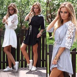 Wholesale Half Sleeve Womens Summer Dress - 2017 New Ukraine Half Sleeve Casual Loose Dresses Style Womens Summer Lace Patchwork T-Shirt Dress Black White Vintage
