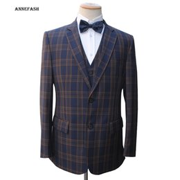 Wholesale Pure Wool Jacket - Wholesale- Custom Made high quality 150's worsted pure wool blue navy windowpane check Suit Men Slim Fit Suit(jacket+pants+vest) 22 color