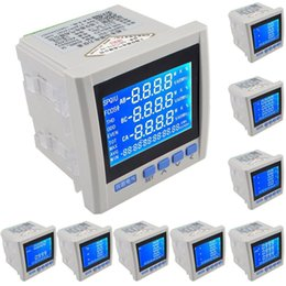 Wholesale Three Phase Power Meter - Freeshipping 3P Three-phase Multifunction LCD Digital Volt Amp Power Meter Energy Accumulation RS-485 Network Table