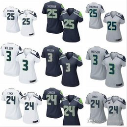Wholesale Cheap Female Jerseys - cheap newest women's baseball jerseys cheap female 3 Russell Wilson #25 Richard Sherman 12 FAN blue jerseys free shipping