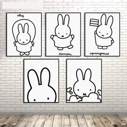 Wholesale Miffy Rabbit - Nordic Kawaii Miffy Rabbit Wall Pictures Canvas Painting Wall Art Painting Watercolor Prints Poster Kids Room Home Decor