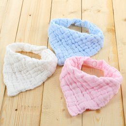 Wholesale Cheap Solid Color Scarves - Baby Bibs Solid Color Plaid Burp Cloths Newborn Infant Cotton Triangular Scarf Baby Feeding Supplies Cheap Factory Free DHL 379