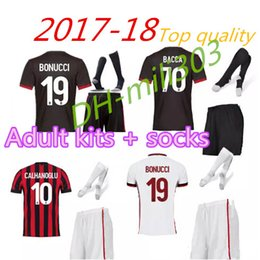 Wholesale Milan Shorts - 2017 2018 men kits + Socks soccer Jersey AC 17 18 milan Jerseys LAPADULA MENEZ BONAVENTURA BACCA BERTOLACCI football shirts free patch