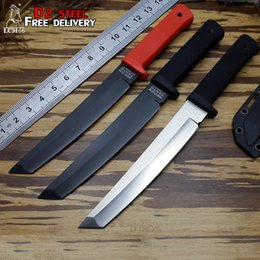 Wholesale tactical lanyards - Cold steel Recon Tanto 13RTK VG-1 hunting knife D2 blade with Fixed blade and knife lanyard hole tactical sheath Survival knife tool LCM66