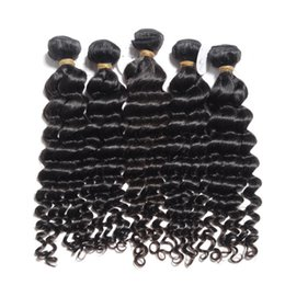 Wholesale Remy Hair Weft Curly - Peruvian Deep Wave Curly 100% Unprocessed Human Virgin Hair Weaves 7A Quality Remy Human Hair Extensions Dyeable 3bundles lot No Shedding