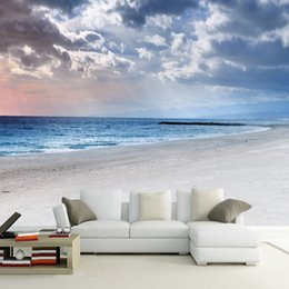 Wholesale Fiber Wall Covering - Wholesale-Custom Murals Wallpaper 3D Stereoscopic Beach Mural For Living Room Bedroom Background Wall Decor Covering Wallpaper De Parede