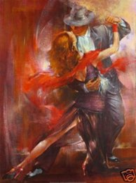 """Óleo, pintura, dançarino, abstratos on-line-Emoldurado, Lotes Atacado, R435 # """"Abstract amantes Dançarino"""", Pure Handpainted Decoração Da Parede Da Arte Pintura A Óleo de Vários Tamanhos pode ser personalizado"""