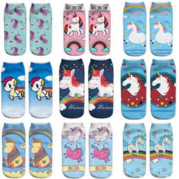 Wholesale Cartoon Sexy Hot - Printed female socks Unicorn Harajuku wind animal 3D print socks hot print socks sweat fashion sexy DHL free shipping