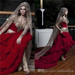Wholesale Kaftan Bridal Dresses - Kaftan Dubai Arabic Wedding Dresses With Sweetheart Embroidery Beads Long Sleeves A Line Ruffles Elegant Formal Custom Red Bridal Gowns