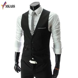 Wholesale waistcoat three button suit - Wholesale- Fashion 2017 New Arrival Men Suit Vests Men's Fitted Leisure Waistcoat Casual Business vests Tops Three Buttons 4 color M-4XL