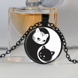 Wholesale Rhinestone Cat Glasses - Ying and Yand Cat Cabochon Glass Tibet Silver Chain Pendant Necklace