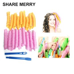 Wholesale Magic Hair Roller Curlers - Free Shipping 18pcs 55cm Magic Plastic Hair Curler Roller Curl Tool Hair Styling Diy Wave Curler Plastic Roller