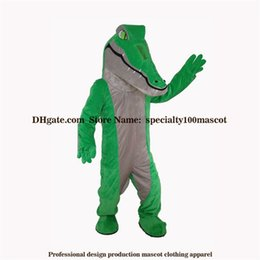 Costumi da coccodrillo online-Il costume adulto della mascotte del coccodrillo di carnevale di alta qualità libera il trasporto, fabbrica reale del costume della mascotte del coccodrillo dell'animale domestico del partito delle immagini reali diretta