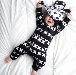 Wholesale Toddlers Romper Patterns - Wholesale- 2017 New Fashion baby clothing set unisex Cotton Long Sleeve Cross Pattern Toddler Romper newborn baby boy girl clothes set