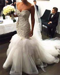 Wholesale heavy beading - Heavy Beaded Pearls Tulle Mermaid Wedding Dresses 2017 Sweetheart Neckline Vestido De Noiva Button Back Bridal Gowns Custom Made