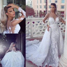 Wholesale Mermaid Detachable Wedding Dresses - Luxury Lace Mermaid Wedding Dresses With Detachable Train 2017 Newest Sheer Neck Long Sleeves Bridal Gowns Appliques Back Buttons Vestidos