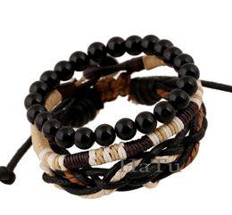 Wholesale Mens Bead Bracelets Wood - Wholesale-three-piece woven wood bead bracelet Classic Leather Bracelet wristband Jewelry Unisex mens charm bead shamballa bracelet bangle