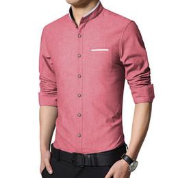Wholesale Mens Mandarin Shirts - Wholesale- 2016 New Fashion Casual Men Shirt Long Sleeve Stand Collar Slim Fit Shirt Men Korean Business Mens Dress Shirts Men Clothes 5XL