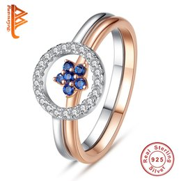 Wholesale 925 Silver Rose Flower Ring - BELAWANG New Fashion 925 Sterling Silver White CZ Combination Finger Rings Silver&Rose Gold Blue Flower Rings For Women Wedding Jewelry Gift