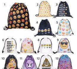 Wholesale Backpacks For Teens - 8''X13.75'' Gym Emoji Sack Bag Drawstring Backpack Sport Bag for Men & Women School Travel Backpack for Teens College Girls