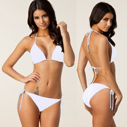 Wholesale White Backless Bra - New Arrival Lady Sexy Padded Bra Bikini 2 Pieces Women Summer Solid Elastic High Quality Backless Bathing Suits 7 Colors