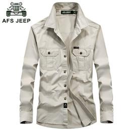Robe de combat en Ligne-Chemise de combat pour hommes Chemise tactique AFS JEEP Chemise respirante à manches longues Automne Casual Army Dress Camisas M-5XL Hommes Chemises