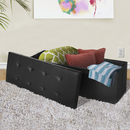 Wholesale Faux Leather Storage - Faux Leather Folding Storage Ottoman Large Black Bench Foot Rest Stool Seat