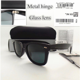 Wholesale metal hinge sunglasses - AAAA+ quality Glass lens 52MM Metal hinge Brand Designer Fashion Plank frame Men Women Sunglasses Sport Vintage Sun glasses