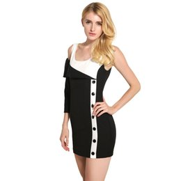 Wholesale Cute Round Collar Dress - Summer Sexy Contrast Color Cute Dress Girls Round Collar Patchwork Slim Dresses One-Shoulder Penicl-Dress