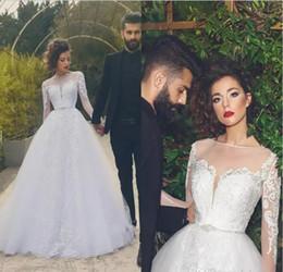 Wholesale Fantastic Wedding - 2017 New Fantastic Modern Sheer Jewel Neck Wedding Dresses Saudi Arabic Dubai Vintage Long Sleeves Appliqued Bridal Gowns Formal Vestidos