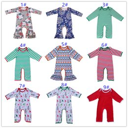Wholesale Long Sleeve Ruffle Outfits - Twins Cotton floral Ruffle romper baby boy and girl sleeper romper Hospital outfit ruffled night Gown Pajamas Halloween christmas gifts C002