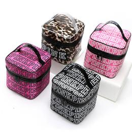 Wholesale Large Cosmetic Bag Nylon Wholesale - Letter Pink Cosmetic Bags Cases Fashion Women Organizer Makeup Bags VS Secret Top Large Capacity Leopard Handbags Bags 4Colors PX-B30