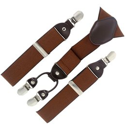 Wholesale Apparel Boxes Red - Wholesale-2015 man suspenders fashion braces with gift box Adjustable 4 Clips brown suspenders Men's Gift Wedding apparel accessories