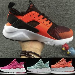 Wholesale Childrens Kids Shoes - New Kids Air Huarache Sneakers Shoes For Boys Girls Authentic All White Childrens Trainers Huaraches Sport Running Shoes Size 28-35