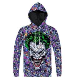 Wholesale Hair Jacket - New Fashion Couples Men Women Unisex DC Comics Green Hair Joker 3D Print Hoodies Sweater Sweatshirt Jacket Pullover Top T42