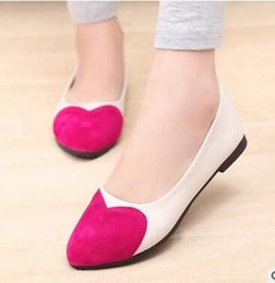 Wholesale Blue Pea - Female shoes 2017 spring and autumn brand Korean version of the new female peach heart color flat Peas shoes free shipping