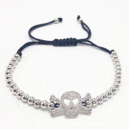 Wholesale Skull Macrame Bracelet - Mens 4mm Beads Bracelet Micro Pave CZ Skull Head Bracelet Braided Macrame Bracelets Luxury Men Animal Jewelry