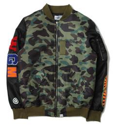 Wholesale Stand For Jackets - camo shark jackets for men bomber jacket hip hop mens coats jaqueta masculina softshell pilot jacket kanye west winter jackets men