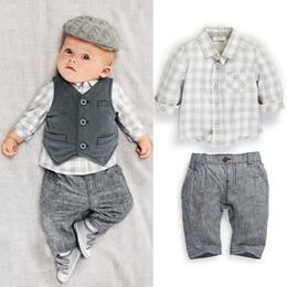 Wholesale Long Fashion Vest - baby boy 3 pcs suits fashion shirt+vest+pants 3 pcs set plaid suits children boys outfits clothing sets