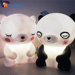 Wholesale Cartoon Panda Lamp - Wholesale- Lumiparty Pretty Cute Panda Cartoon animal night light,Kids Bed Desk Table Lamp Night Sleeping led night lamp Chrismas Gift