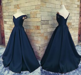 Wholesale Prom Back Bow Dresses - Navy Blue Off Shoulder Prom Dresses 2017 V Neck Ruched Satin Floor Length Corset Lace Up Backless Long Homecoming Dresses Party Dresses