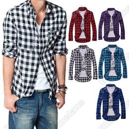 Wholesale Checked Slim Fit Shirt - Wholesale- New Mens Slim Fit Casual & Dress Plaid Check Shirt Korean Style Blue Red Black