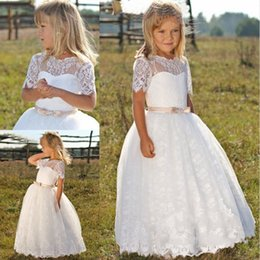 Wholesale Applique Designs For Wedding Dresses - Cute Kids Frock Designs First Communion Dresses For Girls Short Sleeves Formal White Lace Flower Girl Dresses For Weddings 2017