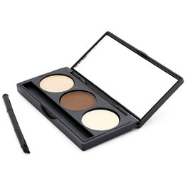 Wholesale United Wholesalers - 3 Color Eyebrow Powder Makeup Eyebrow with Mini Brush Women Beauty Cosmetic Enhancers Brow Stamp Powder Straight United