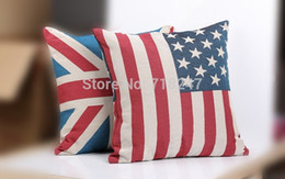 Wholesale Vintage Flag Pillow - New Fashion USA America Flag Decorative Vintage Jacquard Decorative Pillowcases Linen Cotton Knitted Throw Pillow Case Covers