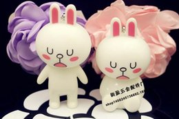 Wholesale Brown Cony Bear - 2017 9pcs set 7-8cm Line Friends Brown Bear & Cony Rabbit Action Figures Anime figurine emoticons character dolls toy
