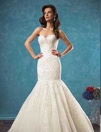 Wholesale Elegant Mermaid Gowns - Elegant Ivory Wedding Dresses Strapless Appliques Tulle Mermaid Bridal Gowns Type Version Sexy Custom Design Wedding Wear