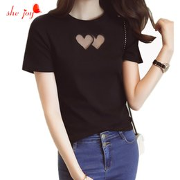 Wholesale Cute Cheap Tops - Wholesale- Cute Women Hollow Out Heart Shape Tees Cotton Short Sleeve Basic White Black T-Shirt Female Tops Cheap Clothes China